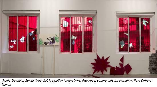 Paolo Gonzato, Senza titolo, 2007, gelatine fotografiche, Plexiglas, sonoro, misura ambiente. Foto Debora Manca