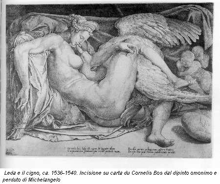 Leda e il cigno, ca. 1536-1540. Incisione su carta du Cornelis Bos dal dipinto omonimo e perduto di Michelangelo