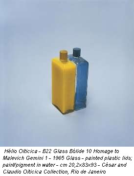 Hélio Oiticica - B22 Glass Blide 10 Homage to Malevich Gemini 1 - 1965 Glass - painted plastic lids; paint/pigment in water - cm 20,2x83x93 - César and Claudio Oiticica Collection, Rio de Janeiro
