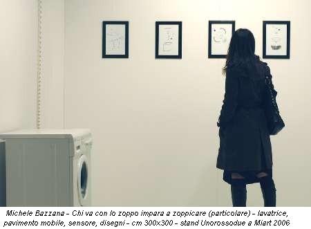 Michele Bazzana - Chi va con lo zoppo impara a zoppicare (particolare) - lavatrice, pavimento mobile, sensore, disegni - cm 300x300 - stand Unorossodue a Miart 2006