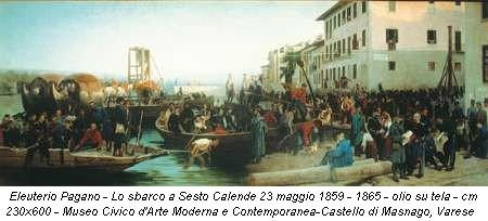 Eleuterio Pagano - Lo sbarco a Sesto Calende 23 maggio 1859 - 1865 - olio su tela - cm 230x600 - Museo Civico d'Arte Moderna e Contemporanea-Castello di Masnago, Varese
