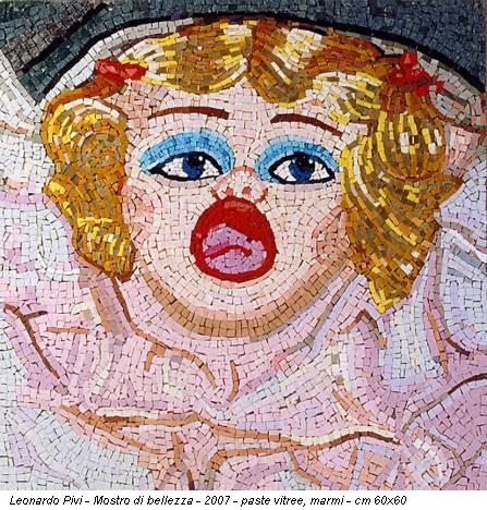Leonardo Pivi - Mostro di bellezza - 2007 - paste vitree, marmi - cm 60x60