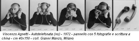 Vincenzo Agnetti - Autotelefonata (no) - 1972 - pannello con 5 fotografie e scrittura a china - cm 40x150 - coll. Gianni Manzo, Milano