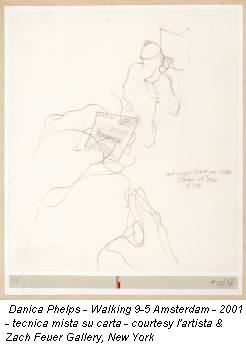 Danica Phelps - Walking 9-5 Amsterdam - 2001 - tecnica mista su carta - courtesy l'artista & Zach Feuer Gallery, New York