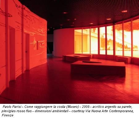Paolo Parisi - Come raggiungere la costa (Museo) - 2008 - acrilico argento su parete, plexiglas rosso fluo - dimensioni ambientali - courtesy Via Nuova Arte Contemporanea, Firenze