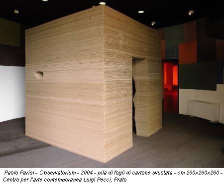 Paolo Parisi - Observatorium - 2004 - pila di fogli di cartone svuotata - cm 260x260x260 - Centro per l'arte contemporanea Luigi Pecci, Prato