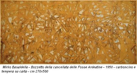 Mirko Basaldella - Bozzetto della cancellata delle Fosse Ardeatine - 1950 - carboncino e tempera su carta - cm 270x580