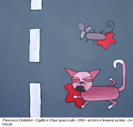 Francesco Diotallevi - Il gatto e il topo spiaccicati - 2006 - acrilico e tempera su tela - cm 100x80