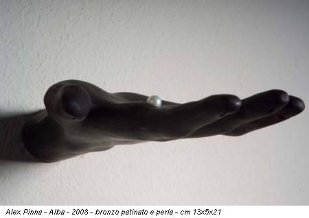 Alex Pinna - Alba - 2008 - bronzo patinato e perla - cm 13x5x21