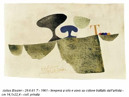 Julius Bissier - 29.6.61 T - 1961 - tempera a olio e uovo su cotone trattato dall'artista - cm 14,1x22,4 - coll. privata