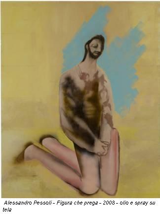 Alessandro Pessoli - Figura che prega - 2008 - olio e spray su tela