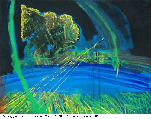 Giuseppe Zigaina - Fiori e alberi - 1976 - olio su tela - cm 70x90