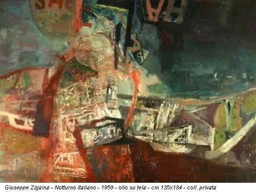 Giuseppe Zigaina - Notturno italiano - 1959 - olio su tela - cm 135x184 - coll. privata