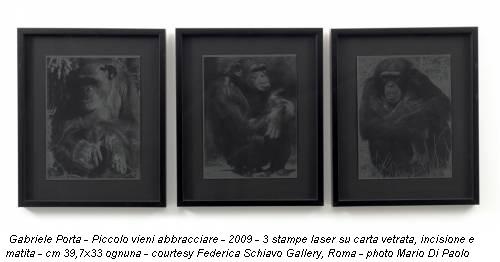 Gabriele Porta - Piccolo vieni abbracciare - 2009 - 3 stampe laser su carta vetrata, incisione e matita - cm 39,7x33 ognuna - courtesy Federica Schiavo Gallery, Roma - photo Mario Di Paolo