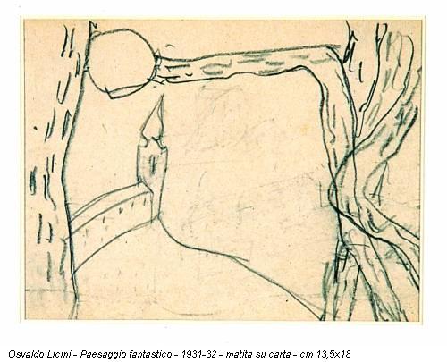 Osvaldo Licini - Paesaggio fantastico - 1931-32 - matita su carta - cm 13,5x18