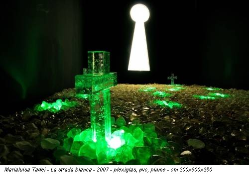 Marialuisa Tadei - La strada bianca - 2007 - plexiglas, pvc, piume - cm 300x600x350