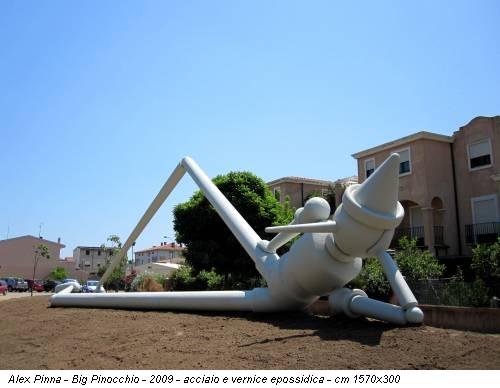Alex Pinna - Big Pinocchio - 2009 - acciaio e vernice epossidica - cm 1570x300