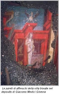 Le pareti di affreschi della villa trovate nel deposito di Giacomo Medici Ginevra