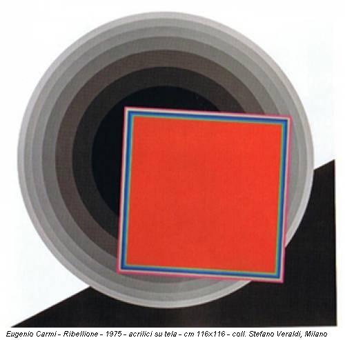 Eugenio Carmi - Ribellione - 1975 - acrilici su tela - cm 116x116 - coll. Stefano Veraldi, Milano