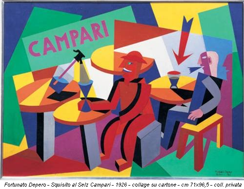 Fortunato Depero - Squisito al Selz Campari - 1926 - collage su cartone - cm 71x96,5 - coll. privata