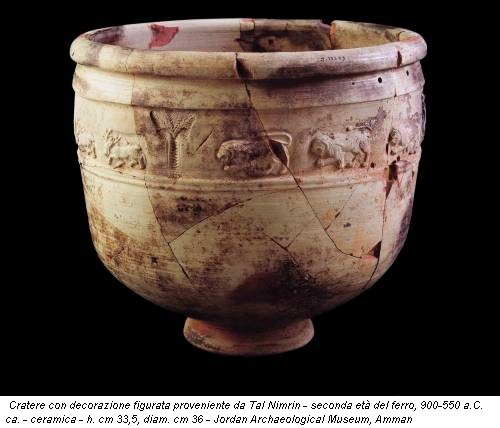 Cratere con decorazione figurata proveniente da Tal Nimrin - seconda età del ferro, 900-550 a.C. ca. - ceramica - h. cm 33,5, diam. cm 36 - Jordan Archaeological Museum, Amman