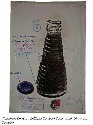 Fortunato Depero - Bottiglia Campari Soda - anni '30 - prod. Campari