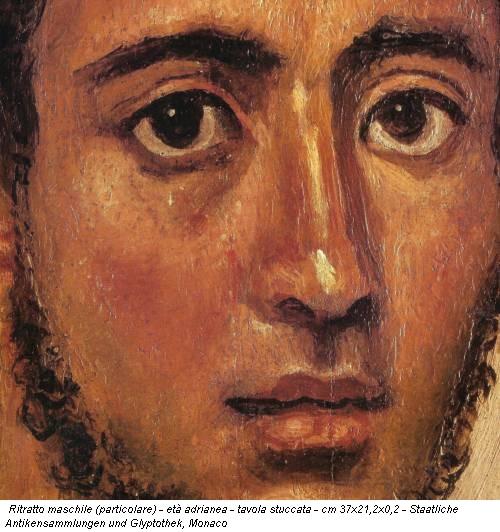 Ritratto maschile (particolare) - età adrianea - tavola stuccata - cm 37x21,2x0,2 - Staatliche Antikensammlungen und Glyptothek, Monaco