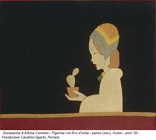 Giuseppina & Albina Coroneo - Figurina con fico d'india - panno Lenci, ricami - anni '30 - Fondazione Cavallini-Sgarbi, Ferrara