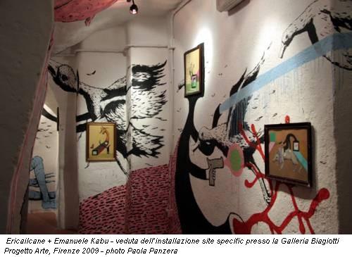 Ericailcane + Emanuele Kabu - veduta dell'installazione site specific presso la Galleria Biagiotti Progetto Arte, Firenze 2009 - photo Paola Panzera