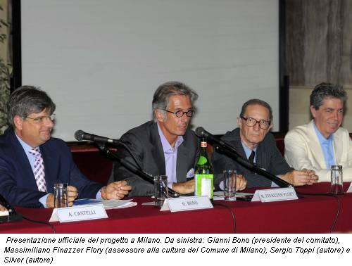 Presentazione ufficiale del progetto a Milano. Da sinistra: Gianni Bono (presidente del comitato), Massimiliano Finazzer Flory (assessore alla cultura del Comune di Milano), Sergio Toppi (autore) e Silver (autore)