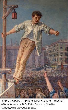 Emilio Longoni - L'oratore dello sciopero - 1890-92 - olio su tela - cm 193x134 - Banca di Credito Cooperativo, Barlassina (MI)
