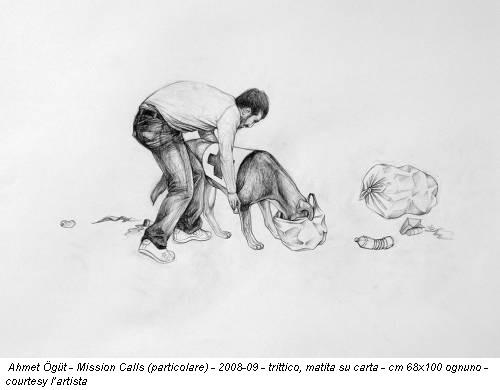 Ahmet Ögüt - Mission Calls (particolare) - 2008-09 - trittico, matita su carta - cm 68x100 ognuno - courtesy l'artista