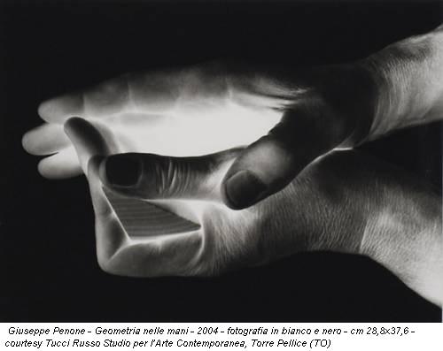 Giuseppe Penone - Geometria nelle mani - 2004 - fotografia in bianco e nero - cm 28,8x37,6 - courtesy Tucci Russo Studio per l'Arte Contemporanea, Torre Pellice (TO)