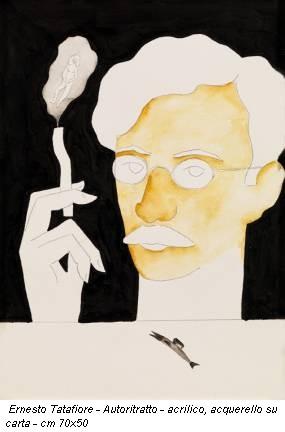 Ernesto Tatafiore - Autoritratto - acrilico, acquerello su carta - cm 70x50