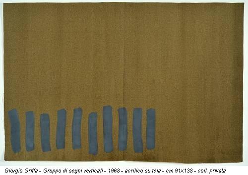 Giorgio Griffa - Gruppo di segni verticali - 1968 - acrilico su tela - cm 91x138 - coll. privata