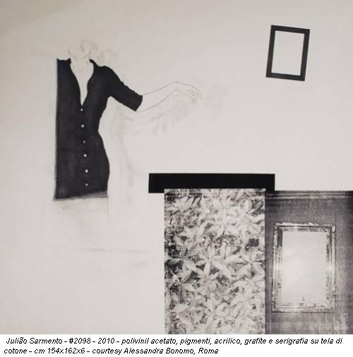 Julião Sarmento - #2098 - 2010 - polivinil acetato, pigmenti, acrilico, grafite e serigrafia su tela di cotone - cm 154x162x6 - courtesy Alessandra Bonomo, Roma