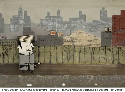 Pino Pascali - Killer con scenografia - 1960-67 - tecnica mista su cartoncino e acetato - cm 25x35