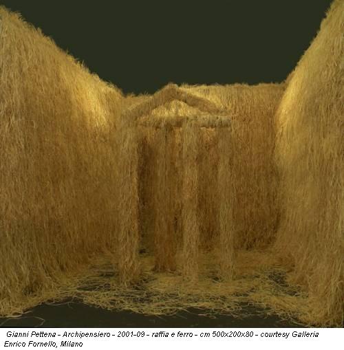 Gianni Pettena - Archipensiero - 2001-09 - raffia e ferro - cm 500x200x80 - courtesy Galleria Enrico Fornello, Milano