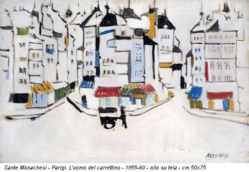 Sante Monachesi - Parigi. L'uomo del carrettino - 1955-60 - olio su tela - cm 50x75