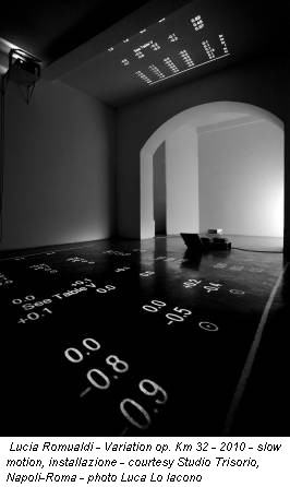 Lucia Romualdi - Variation op. Km 32 - 2010 - slow motion, installazione - courtesy Studio Trisorio, Napoli-Roma - photo Luca Lo Iacono