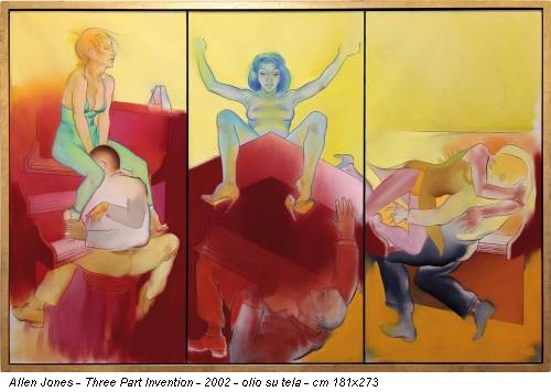 Allen Jones - Three Part Invention - 2002 - olio su tela - cm 181x273