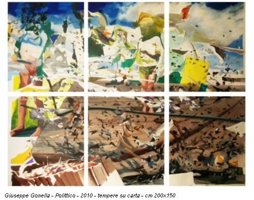 Giuseppe Gonella - Polittico - 2010 - tempere su carta - cm 200x150