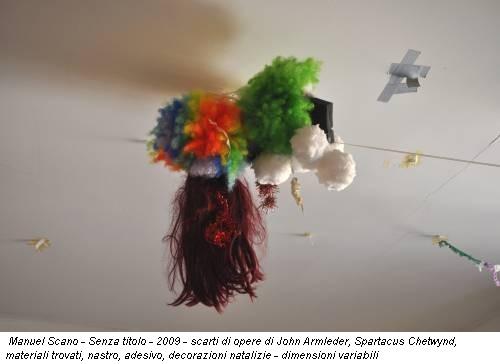 Manuel Scano - Senza titolo - 2009 - scarti di opere di John Armleder, Spartacus Chetwynd, materiali trovati, nastro, adesivo, decorazioni natalizie - dimensioni variabili