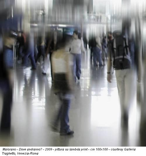 Maiorano - Dove andranno? - 2009 - pittura su lambda print - cm 100x100 - courtesy Galleria Traghetto, Venezia-Roma