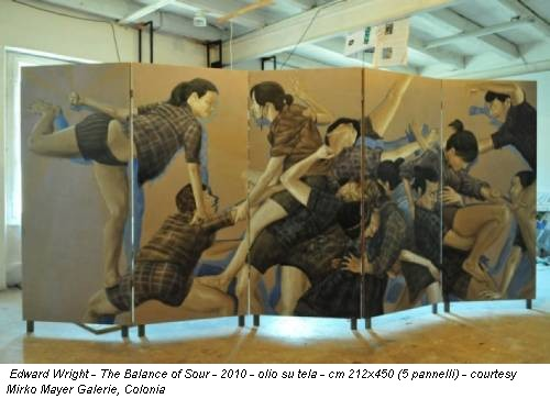 Edward Wright - The Balance of Sour - 2010 - olio su tela - cm 212x450 (5 pannelli) - courtesy Mirko Mayer Galerie, Colonia