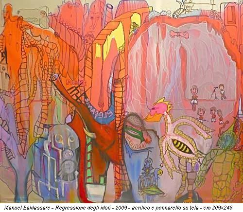 Manuel Baldassare - Regressione degli idoli - 2009 - acrilico e pennarello su tela - cm 209x246