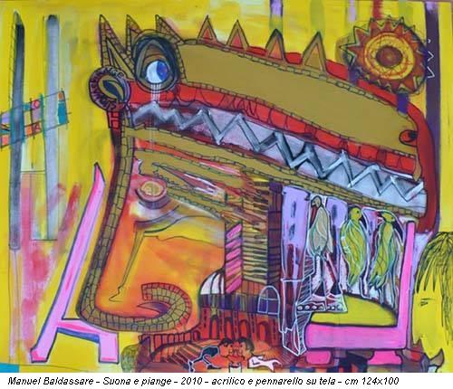 Manuel Baldassare - Suona e piange - 2010 - acrilico e pennarello su tela - cm 124x100