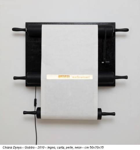 Chiara Dynys - Gobbo - 2010 - legno, carta, pelle, neon - cm 50x70x15