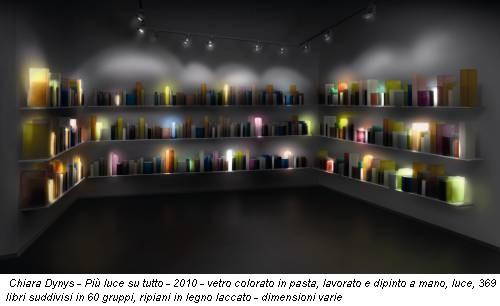 Chiara Dynys - Più luce su tutto - 2010 - vetro colorato in pasta, lavorato e dipinto a mano, luce, 369 libri suddivisi in 60 gruppi, ripiani in legno laccato - dimensioni varie