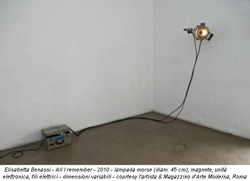 Elisabetta Benassi - All I remember - 2010 - lampada morse (diam. 45 cm), magnete, unità elettronica, fili elettrici - dimensioni variabili - courtesy l'artista & Magazzino d'Arte Moderna, Roma